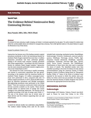 The Evidence Behind Noninvasive Body Contouring Devices